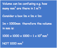 Volume can be confusing e.g. how many mm3 are there in 1 m3?