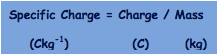Specific Charge = Charge / Mass
